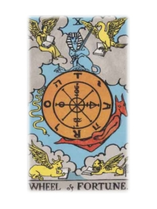 A wheel in the sky is surrounded by the four creatures of earth, the Sphynx seated atop, a snake descending and Anubis ascending around it