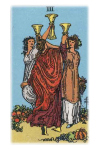 Three women raise their cups and dance in celebration, surrounded by a bountiful harvest